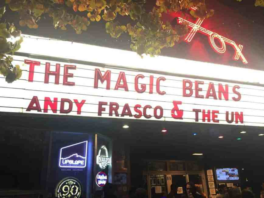 The Magic Beans and Andy Frasco and the U.N. at Fox Theatre, Boulder, Colorado – November 20th, 2015