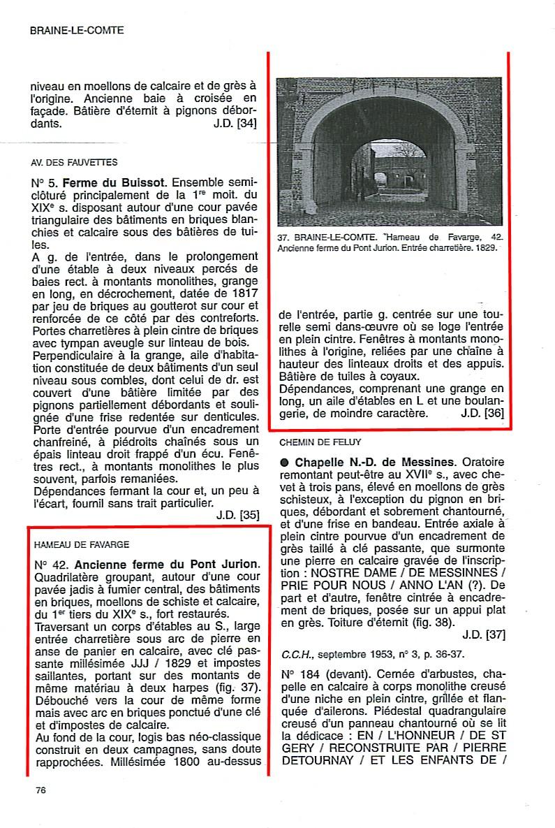 Hameau de Favarge dans l'inventaire du patrimoine wallon