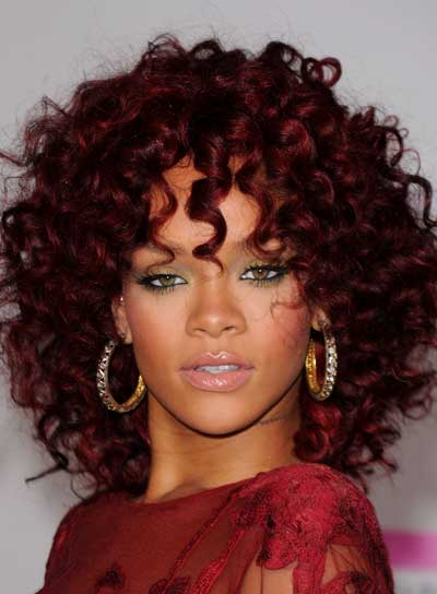 Rihanna Curly, Funky, Red Hairstyle