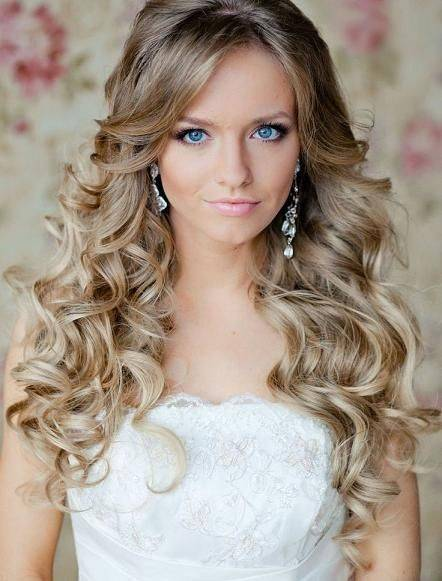 simple curly wedding hair