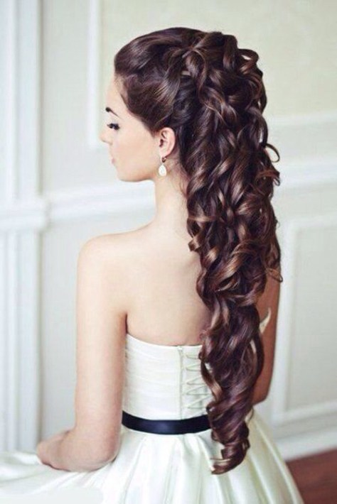 long curly wedding hairstyle..