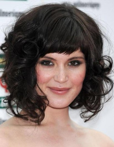 Curly Shoulder Length Hair With Bangs