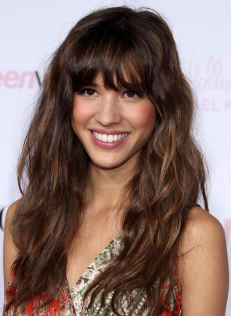 Kelsey Chow Relaxed Long Curly Hairstyle with Bangs