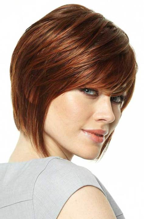 Ginger Bob Haircut with Layered Bangs for Oval Faces