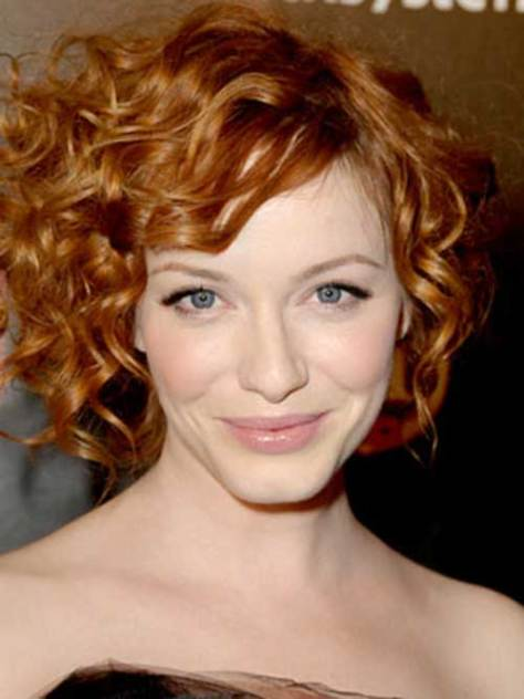 Ginger Short Haircut for Curly Hair Oval Face
