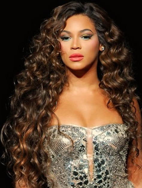 Beyonce with Curly Long Hair