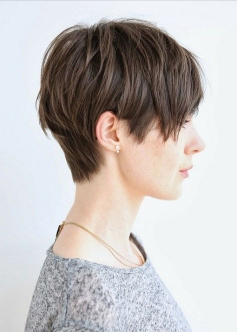 Short haircut with a smoothly clipped nape.