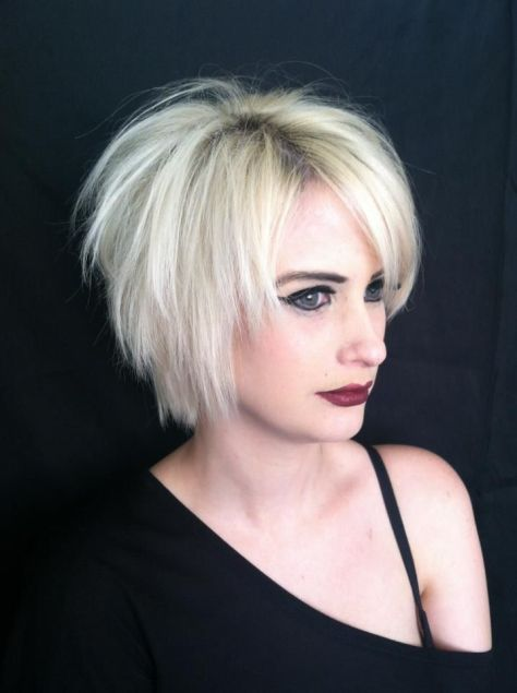 Short masculine razor cut that turns feminine with extended length and playful texture.