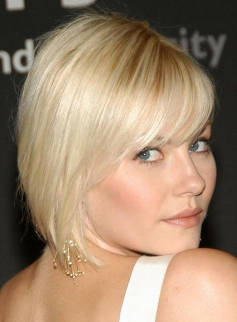 Blonde pixie with a form fitting back and long bangs