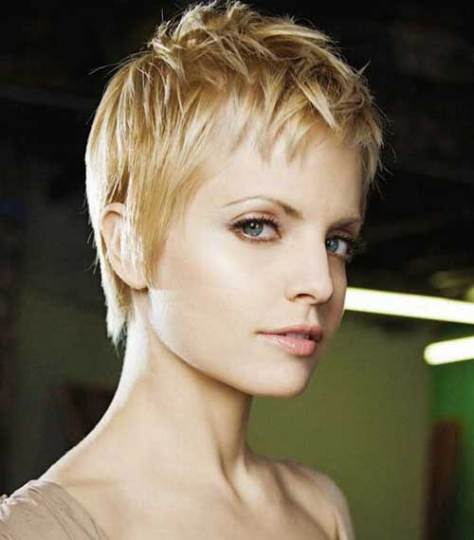 Pixie cut with a feminine touch.