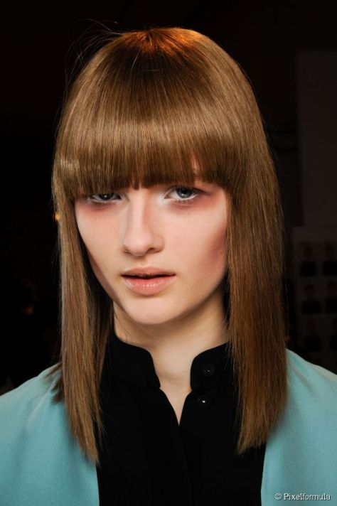 Ultra sleek long hairstyle with short bangs