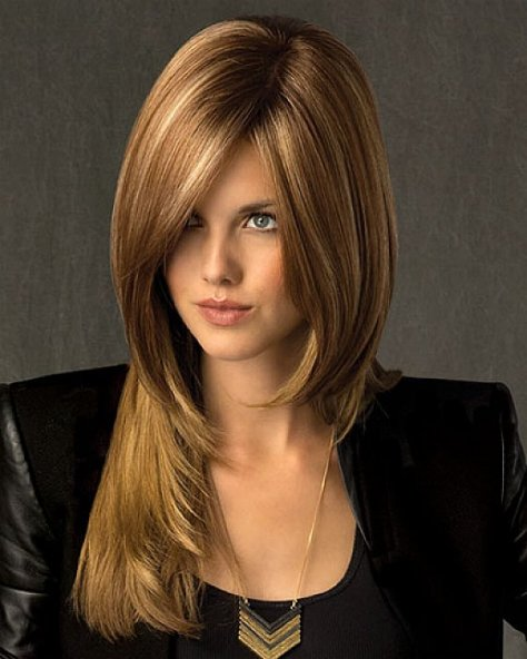 45 Long hairstyle with layers and overlapping slices and strands of hair