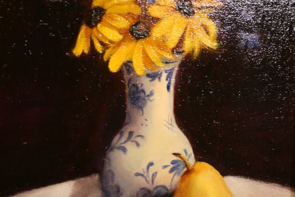(Close-up) Susans, Vase, and Pear by Sheri Dinardi