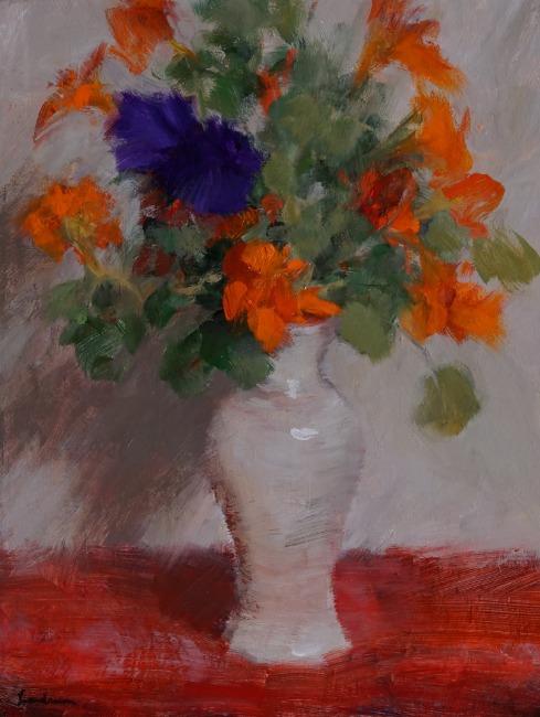 Nasturtiums and Petunia by Dale Landrum