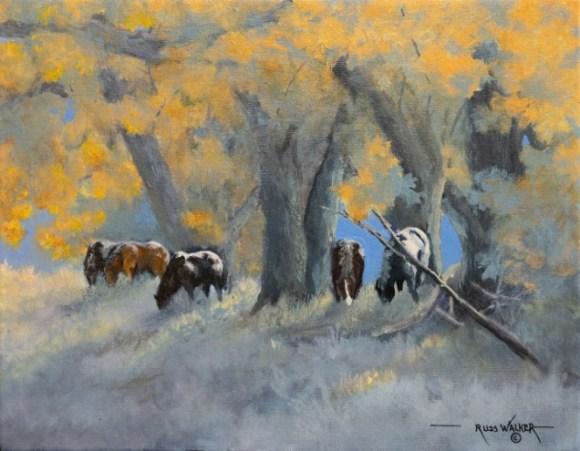 Mustangs and Cottonwood by Russ Walker