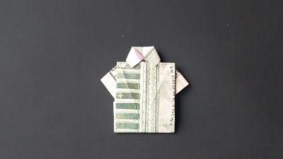 Fold a money shirt with an origami dress