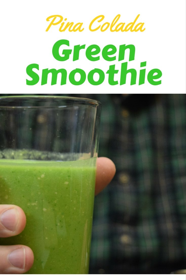 Make this Pina Colada Green Smoothie to enjoy a little paradise in the morning for breakfast.  Simple recipe and quick prep. #greensmoothies
