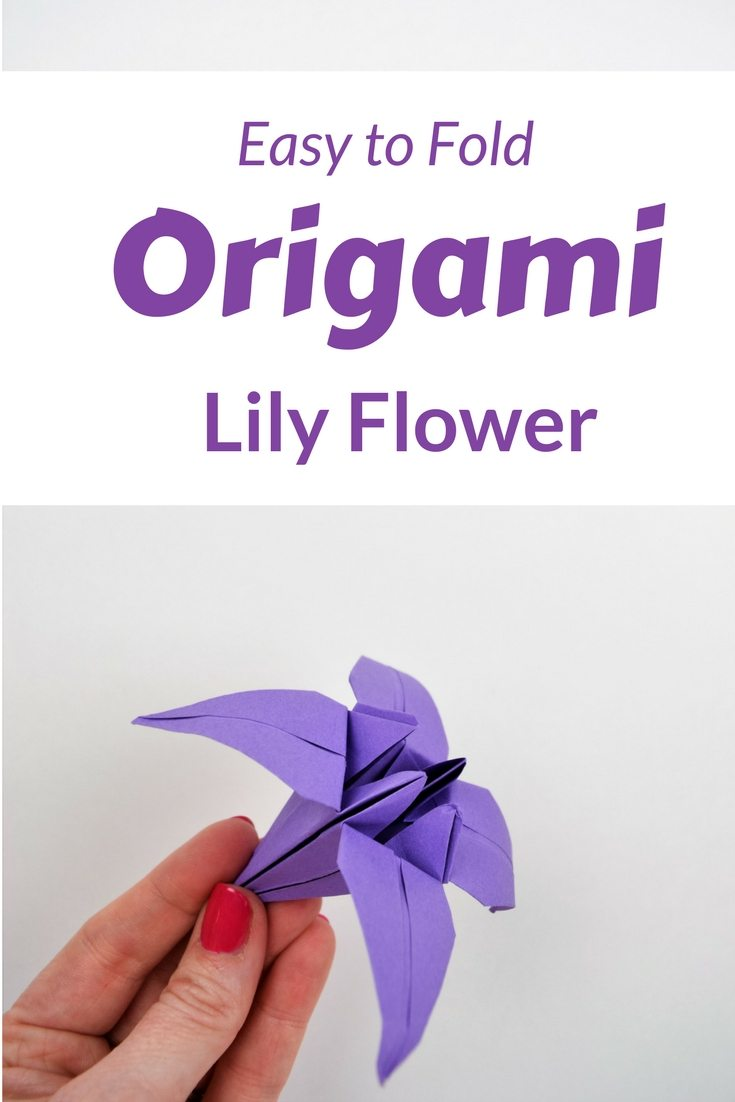 Learn how to fold an origami lily with this step by step video tutorial. It's easy and fast. And learn why foldign flowers is better than gardening. #origami #origamiflowers #paperflowers #crafts