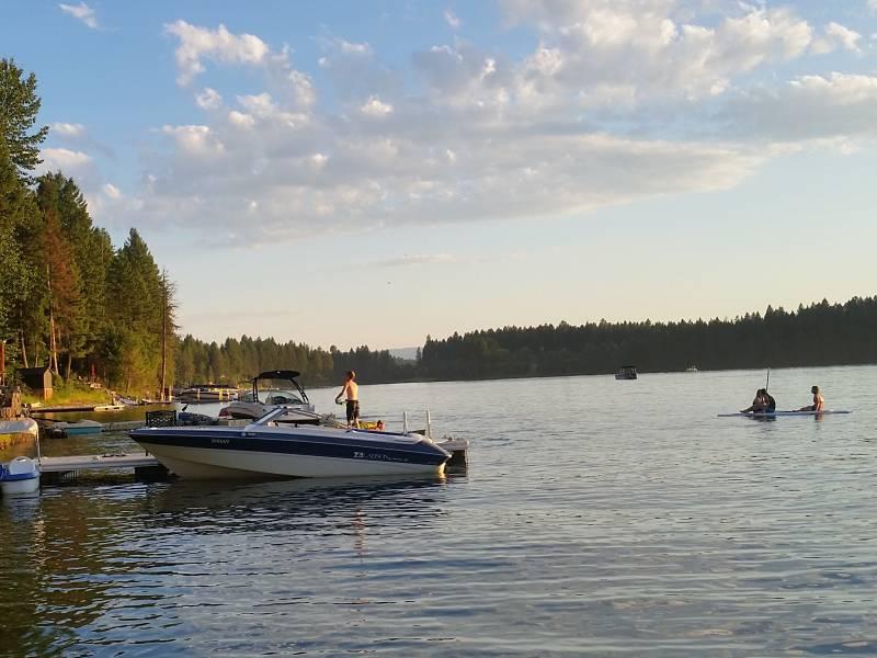 boat on a lake at sunset