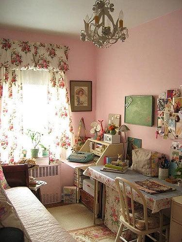 bedrooms pink retro room vintage  image 1878 on