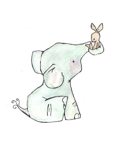 bunny, cute, drawings, elephant, friends, illustration