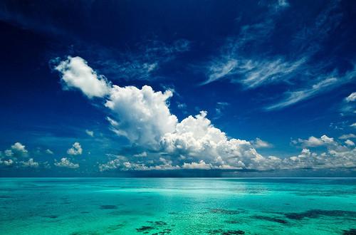 beach blue sky clean clouds
