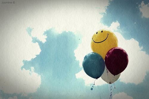 Cute Girl Flying Kiss Wallpaper Balloons Happy Sky Smile Vintage Yellow Image
