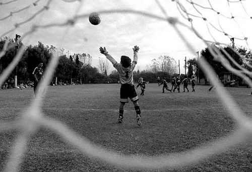 Soccer Boy Goalkeeper Black And White Game Playing