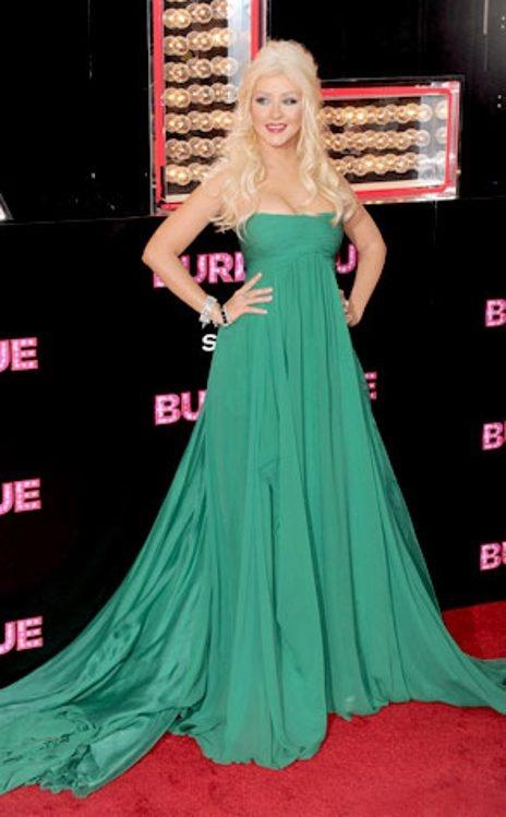 Photos Of Christina Aguilera Celebrity Lady Green Dress