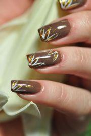 brown gel nails manicure art