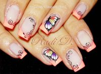 butterfly coral tips french nails - Favnails