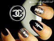 chanel logo black nails - favnails