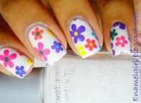 colorful flowers white spring nails - Favnails