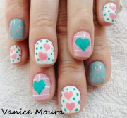 hearts dots pink teal white spring