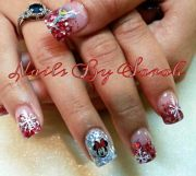 red glitter gradient snowflakes