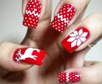 red white winter sweater nails - Favnails