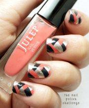 silver coral black braided nails