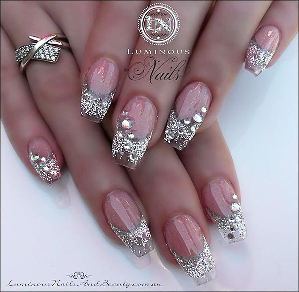 French Nails Silver Glitter