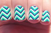teal blue white stripes chevron