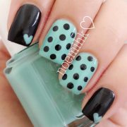 teal hearts black dots lovely nails