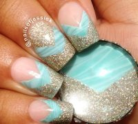 teal marbled glitter tips french nails - Favnails