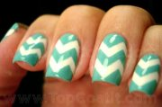 teal and gold nail design