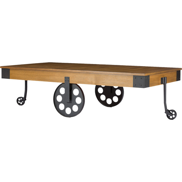 albert vintage style coffee table with cast iron wheels favorave