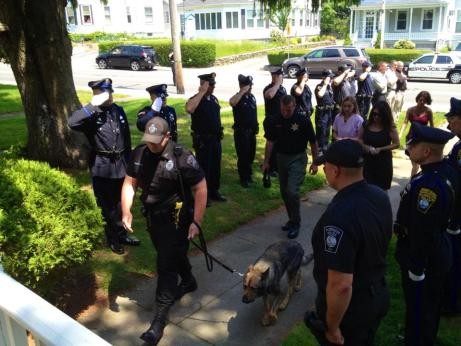 final trip to police headquarters for police dog touching