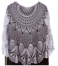 Crochet shawl PATTERN, crochet wrap with pineapple motif