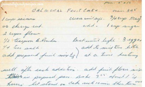 Balmoral Fruitcake Recipe - Favourite Family Recipes