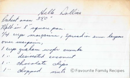 Hello Dollies P1 Favourite Family Recipes