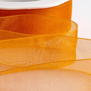 7mm Orange Organza Ribbon 50M
