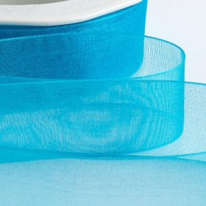 7mm Turquoise Organza Ribbon 50M