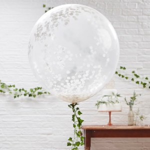 36inch White Confetti Balloons
